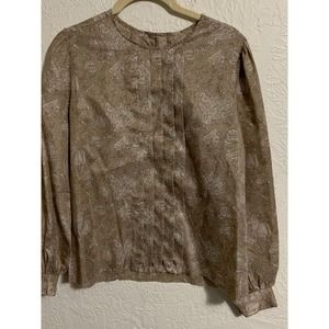Vintage laura mae top pleated front muted floral
